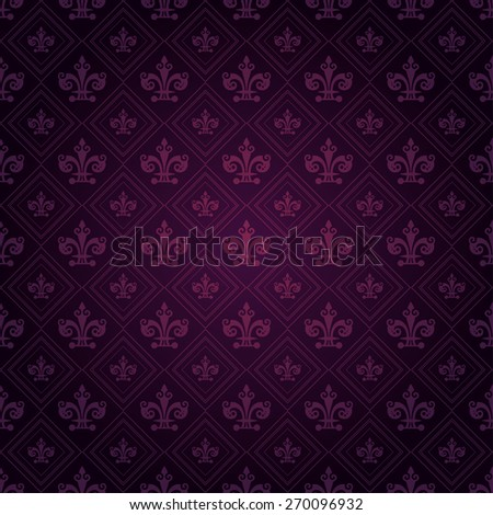 Modern Wallpaper Pattern. Background for Your design. Dark cover. Ornate image texture. Old style. Damask. For design of cards, invitations, book, web design, wallpapers for walls. Purple Color - stock photo