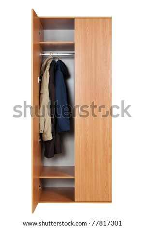 modern wardrobe with clothes on a white background
