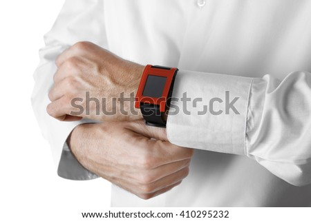 Modern watch on a businessman's wrist, close up - stock photo
