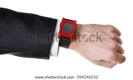 Modern watch on a businessman's wrist isolated on white - stock photo
