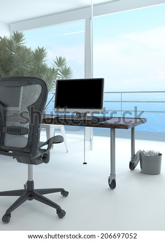 Modern waterfront office interior with a computer workstation and chair in front of a large floor-to-ceiling glass window overlooking the sea and a large potted plant in the corner - stock photo