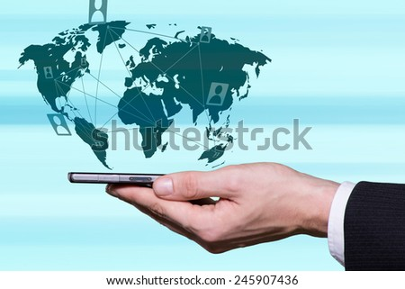 Modern way of communication with people from all over the world - stock photo