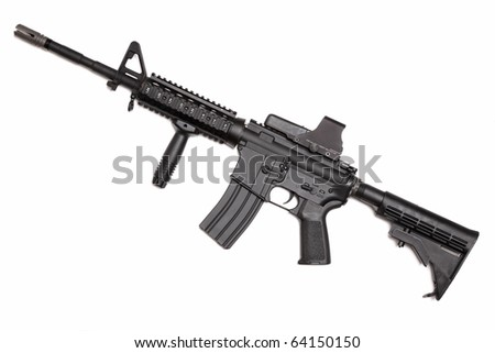 Modern weapon series. US Army M4A1 Carbine with tactical grip and holographic sight. Object isolated on white backgound. - stock photo