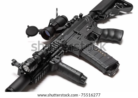 Modern weapon series. US Army Spec Ops M4A1 custom build assault carbine with RIS/RAS, red dot sight and tactical flashlight. Object on a white backgound. Tilt view, shallow DOF. Studio shot. - stock photo