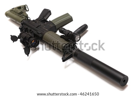 Modern weapon. US Spec Ops M4A1 custom rifle with red dot sight, silencer and tactical flashlight. Object isolated on white backgound. Tilt view, shallow DOF. Studio shot. - stock photo
