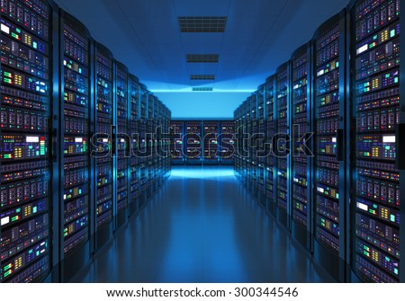 Modern web network and internet telecommunication technology, big data storage and cloud computing computer service business concept: server room interior in datacenter in blue light - stock photo