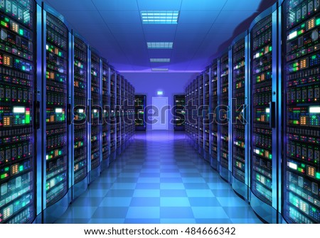 Modern web network and internet telecommunication technology, big data storage and cloud computing computer service business concept: server room interior in datacenter in blue light