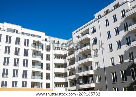 Modern white apartment houses seen in Berlin - stock photo