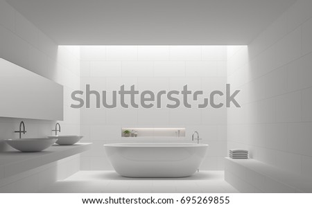 Modern White Bathroom Interior Minimal Style 3d Rendering Image.There Are  White Tile With Brick