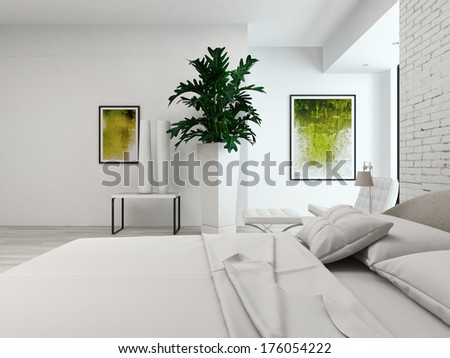 Modern white bedroom with bed against brick wall - stock photo