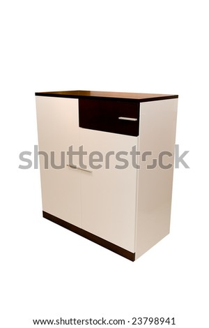 Modern white brown dresser on a white background