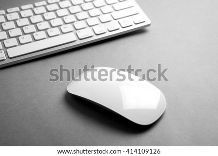 Modern & white computer mouse and keyboard - stock photo