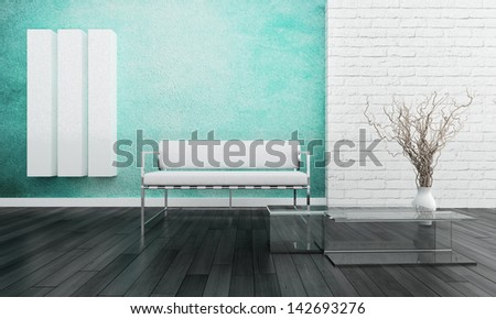 Modern white couch against colorful wall - stock photo