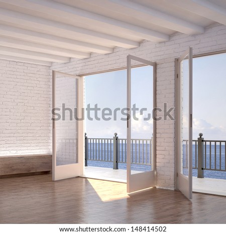 Modern white empty room interior with seascape view - stock photo