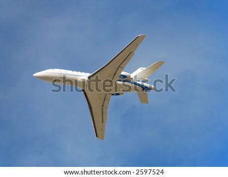 Modern white executive jet - stock photo
