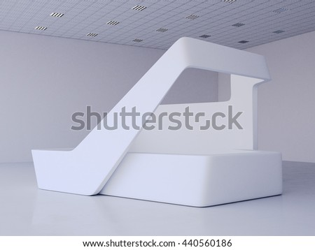 Modern white exhibition stand in bright hall. 3d rendering