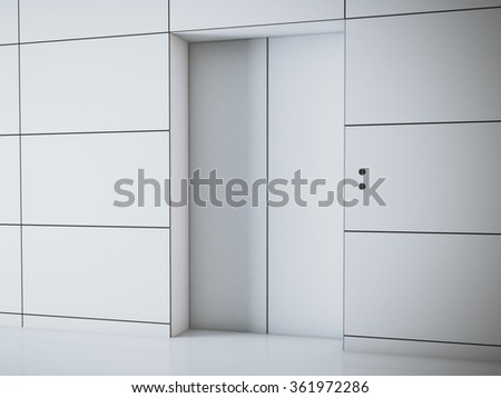 Modern white hall with elevator. 3d rendering - stock photo