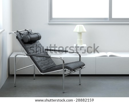 Modern white interior with black leather armchair (3D render) - stock photo