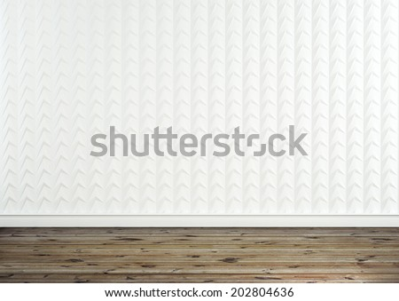Modern white interior with wooden floor - stock photo