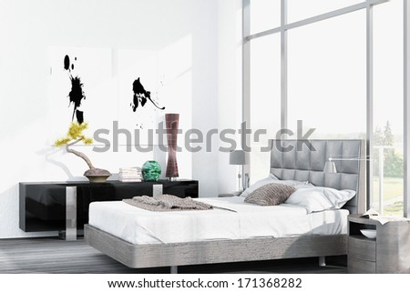 Modern white king-size bed against floor to ceiling window - stock photo