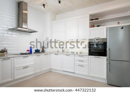 Modern white kitchen - stock photo