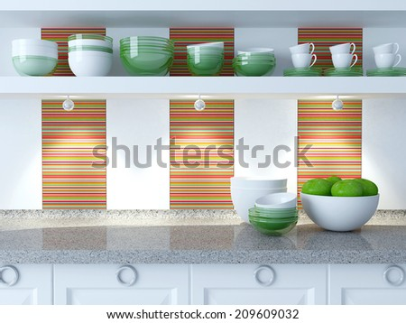 Modern white kitchen design. Ceramic and glass kitchenware on the shelf. Vase with apples on the marble worktop. - stock photo