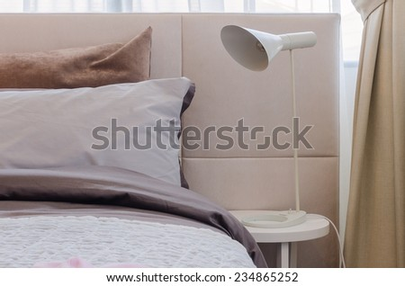 modern white lamp in kid bedroom at home