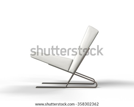 Modern white leather armchair - side view - stock photo