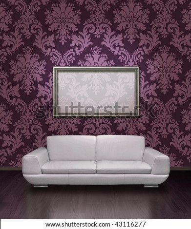 Modern white leather sofa and silver plated frame in room with dark lilac damask pattern wall paper