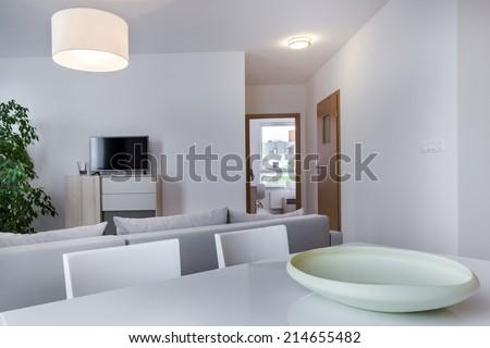 Modern, white living room in scandinavian style - stock photo