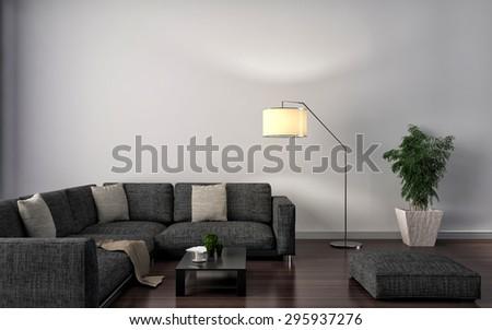 Modern white living room interior design. 3d illustration - stock photo