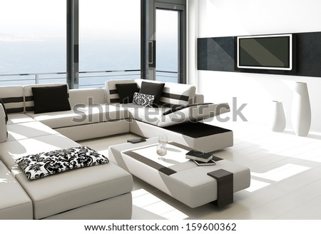 Modern white living room interior with splendid seascape view - stock photo