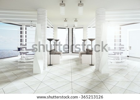 Modern white loft room with big windows and city view 3D Render - stock photo