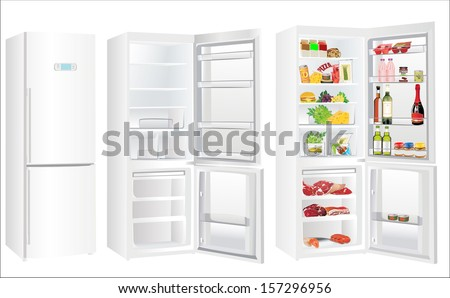 Modern white metallic refrigerator with touchscreen closed, open and empty, full with some kinds of food - vegetables, meat, fish - stock photo