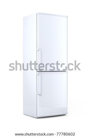 Modern white refrigerator - stock photo