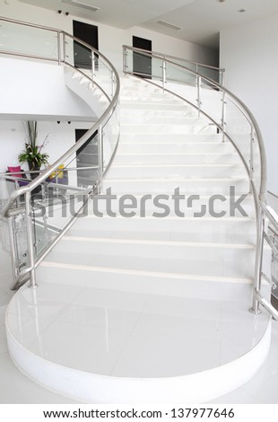modern white stairs going up - stock photo
