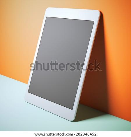 Modern white tablet pc - stock photo