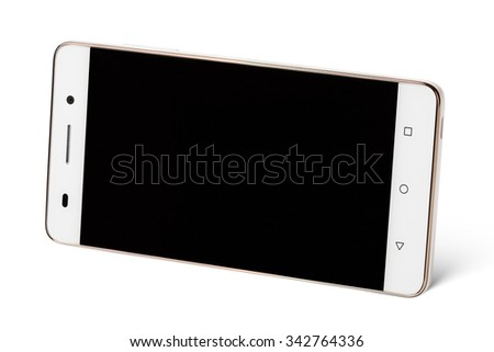 Modern white touch screen smartphone in horizontal isolated on white with clipping path - stock photo
