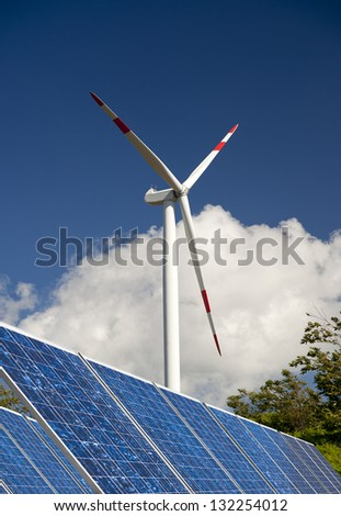 modern white wind turbine with blue sky and solar paneling