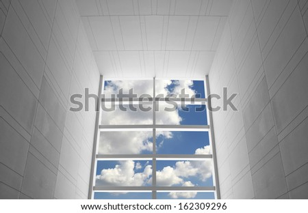 modern white window and blue sky - stock photo