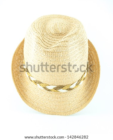 Modern wicker straw hat isolated on white background