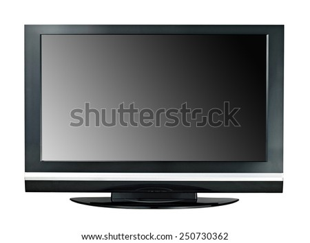 Modern widescreen lcd tv monitor isolated - stock photo