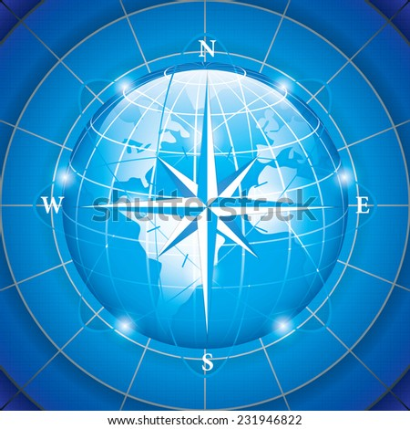 Modern wind rose compass
