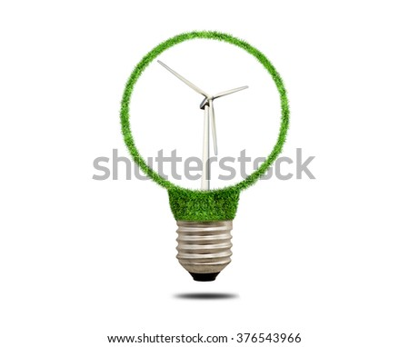 Modern wind turbine in a metal socket of the filament lamp. Wind turbine isolated on white background.