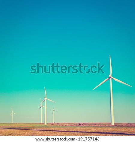 Modern Wind Turbines in Spain, Instagram Effect - stock photo