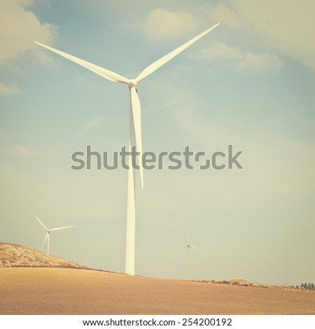 Modern Wind Turbines Producing Energy in Spain, Instagram Effect - stock photo