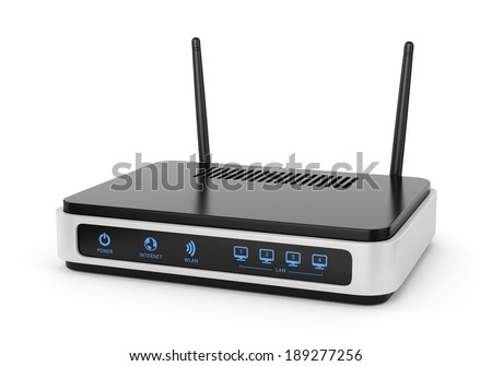 Modern wireless wi-fi router with two antennas isolated on white background. High speed internet connection, computer network and telecommunication technology concept. - stock photo