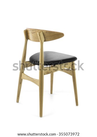 Modern Wood Chair with Black Leather Pad on White Background, Back Three Quarters View - stock photo