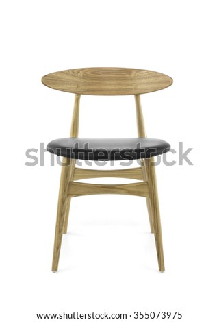 wooden chair front view. Modern Wood Chair With Black Leather Pad On White Background, Front View Wooden B