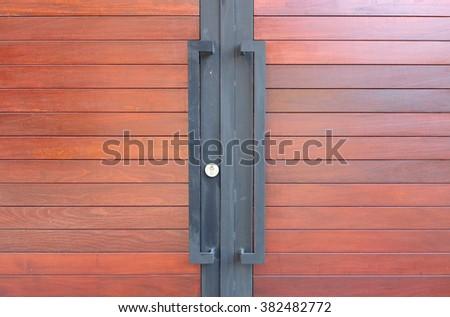 Modern wood door - stock photo